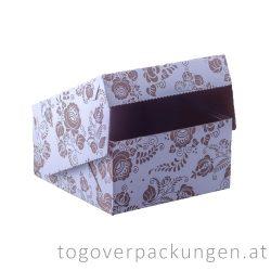 Tortenkarton / Kuchenbox, 190 x 190 x 100 mm, gemustert / 50 Stück