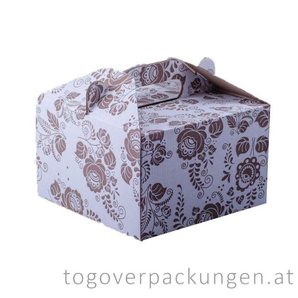 Tortenkarton / Kuchenbox mit Griff, 190 x 190 x 120 mm, gemustert / 50 Stück