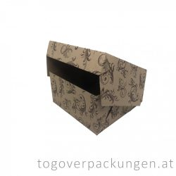 Kuchenbox, 190 x 190 x 100 mm, gemustert, kraft / 50 Stück