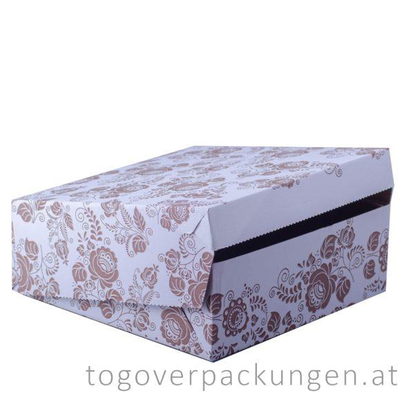 Tortenkarton / Kuchenbox, 280 x 280 x 100 mm, gemustert / 50 Stück