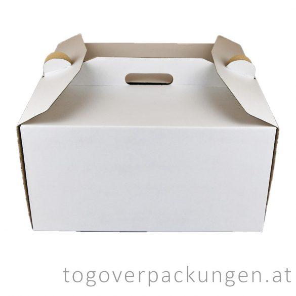 Tortenkarton mit Griff, 350 x 350 x 180 mm / 40 Stück