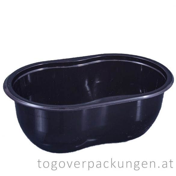 Verpackungsbox - oval, 250 ml, schwarz / 90 Stück