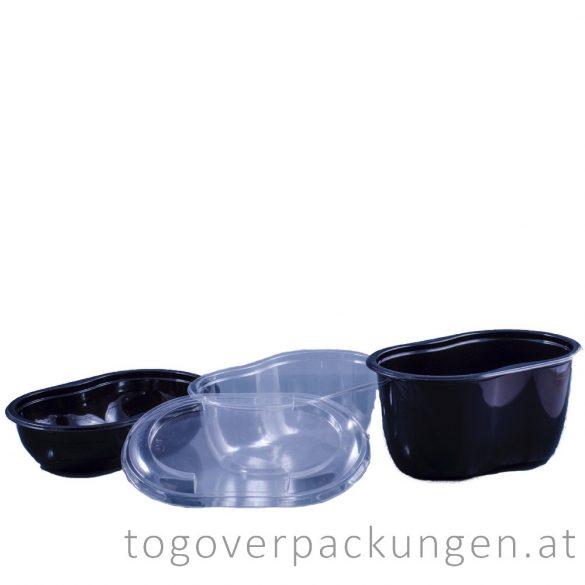 Verpackungsbox - oval, 500 ml, schwarz / 75 Stück