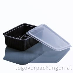 Verpackungsbox - eckig, 1000 ml, PP, schwarz / 50 Stück