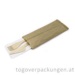Holzbesteckset (Messer, Gabel + Serviette) / 100 Stück