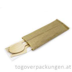 Holzbesteckset (Löffel, Messer, Gabel + Serviette) / 100 Stück
