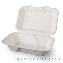 Kompostierbare Zuckerrohr-Menübox, 230 x 150 x 80 mm für halb Portion / 50 Stück