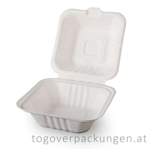 Kompostierbare Zuckerrohr-Menübox - Hamburger, 150 x 150 x 80 mm / 50 Stück