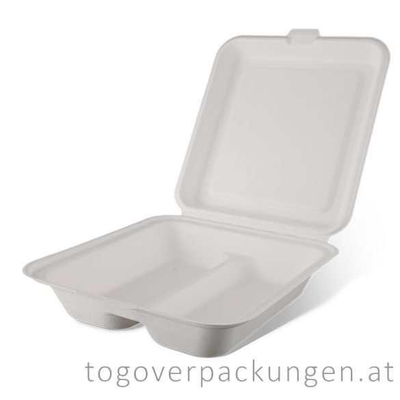Kompostierbare Zuckerrohr-Menübox, 210 x 190 x 60 mm, 2 teilige/ 50 Stück