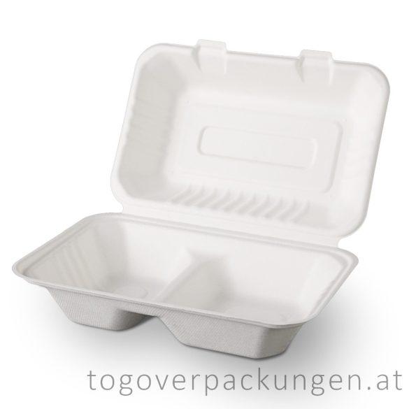 Kompostierbare Zuckerrohr-Menübox, 230 x 150 x 80 mm für halb Portion, 2 teilige / 125 Stück