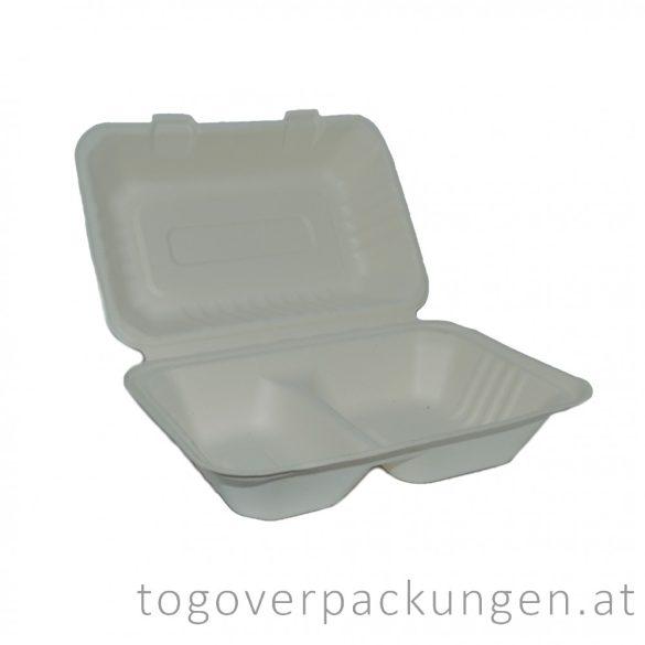 Kompostierbare Zuckerrohr-Menübox, 230 x 150 x 80 mm für halb Portion, 2 teilige / 50 Stück