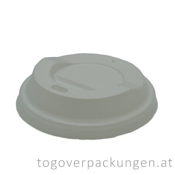 Bio CPLA Deckel für 220 ml Pappbecher, weiß / 100 Stück