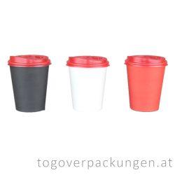 Deckel für 220 ml Pappbecher, rot / 100 Stück