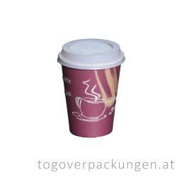 Deckel für 300-340-450 ml Pappbecher, weiß / 100 Stück