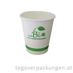 Abbaubarer Pappbecher mit PLA-Beschichtung, gemusterter, 220 ml / 50 Stück