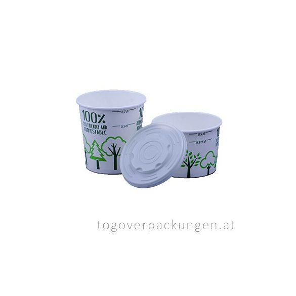 Abbaubarer Suppenbecher mit PLA-Beschichtung, gemusterter, 700 ml / 25 Stück