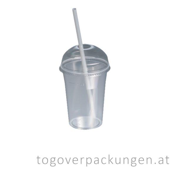 PLA Domdeckel für PLA Shake-Becher, 500 ml, mit Loch / 50 Stück