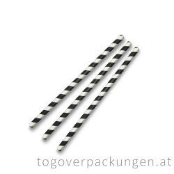 Abbaubare Strohhalme aus Papier - Schwarz-Weiß / 500 Stück