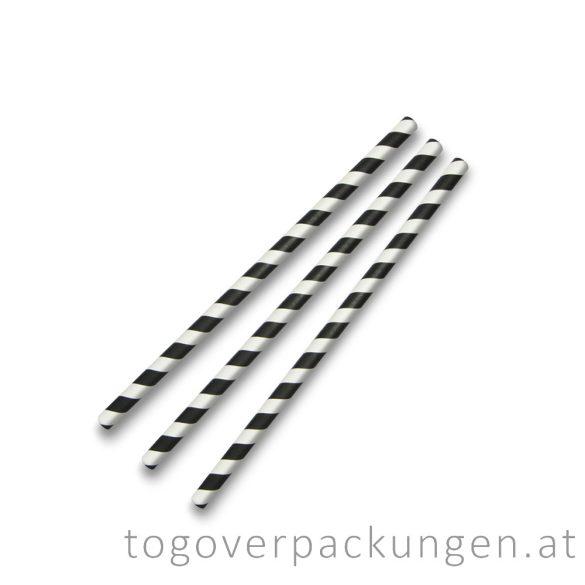Abbaubare Strohhalme aus Papier - Schwarz-Weiß / 100 Stück