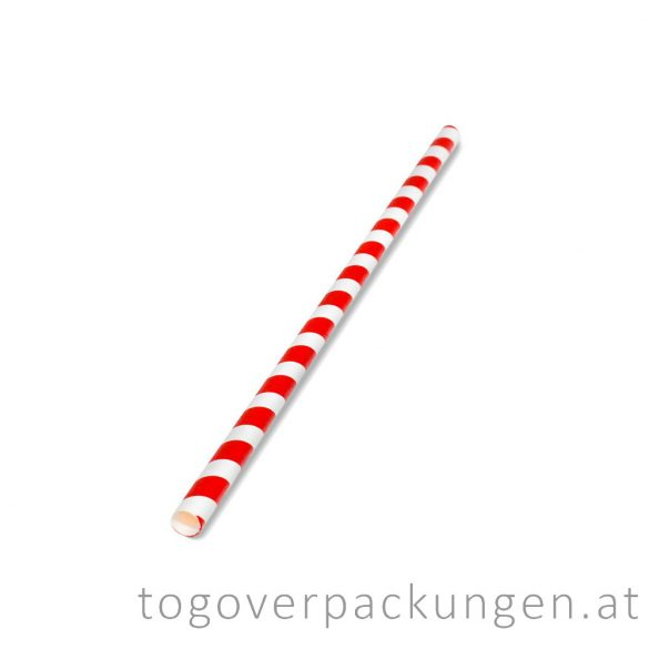 Abbaubare Strohhalme aus Papier - Rot-Weiß / 100 Stück