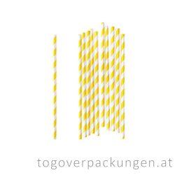 Abbaubare Strohhalme aus Papier - Gelb-Weiß / 100 Stück