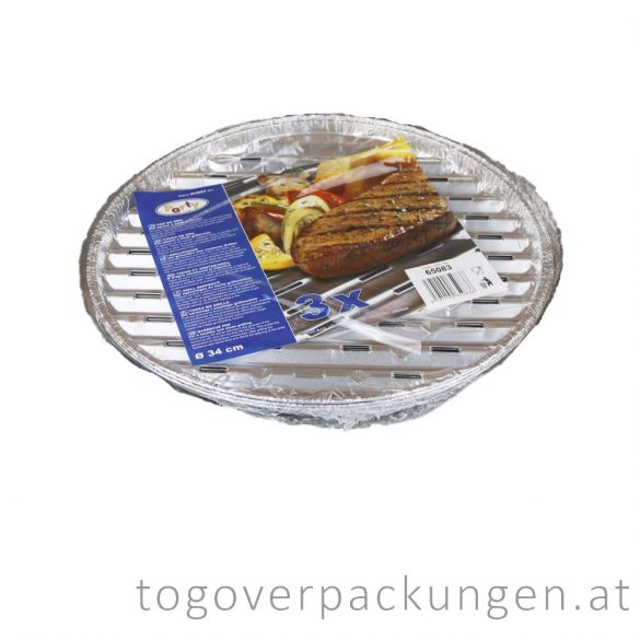 Grill-Aluschale - rund, 340 mm / 3 Stück