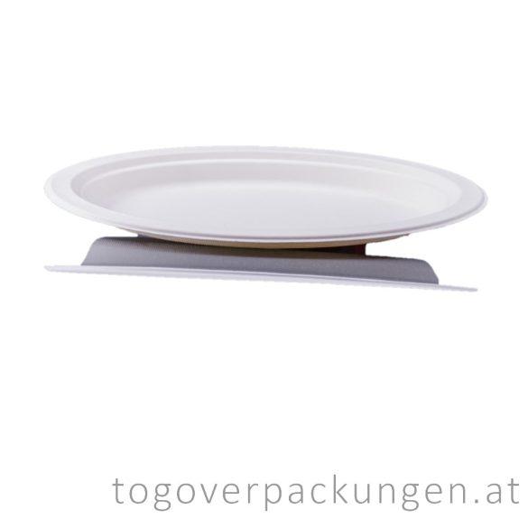 Kompostierbar Zuckerrohr Oval-Teller, 260 mm / 50 Stück
