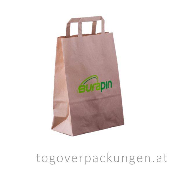 Recyclebare Papiertasche, 260 x 350 + (120) mm / 250 Stück